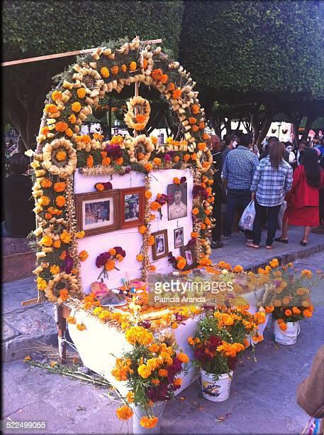 Altar de muertos at the main park of San Miguel de Allende Gto México Taken in the festivity of the Day of the death
