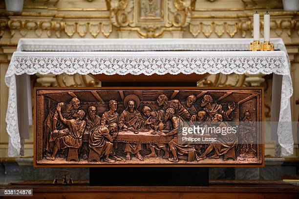 altar in dominican church, muro leccese, apulia - muro stock photos and pictures