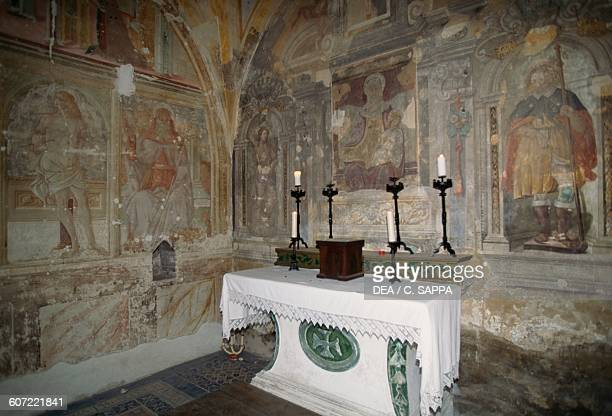 Altar in the crypt of the Church of St Anne Sigillo Mount Cucco park Umbria Italy 15th century