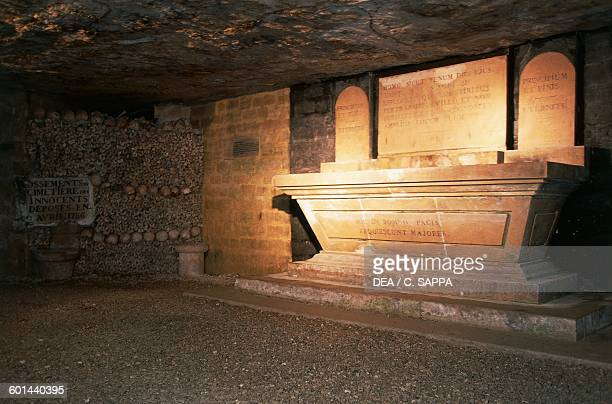 Altar in the Sacellum crypt catacombs of Paris IledeFrance France