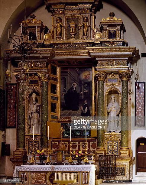 Altar of St Clare with a sterling silver urn which contains the Saint's ashes Church of St Clare Montefalco Umbria Italy 17th century