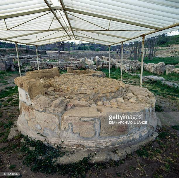 Altar of the Agora sanctuary ancient city of Morgantina Sicily Italy Greek civilisation Magna Graecia 3rd century BC