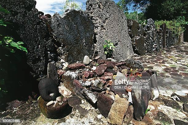 Altar of the marae in Taputapuatea Raiatea Society islands French Polynesia overseas territory of the French Republic