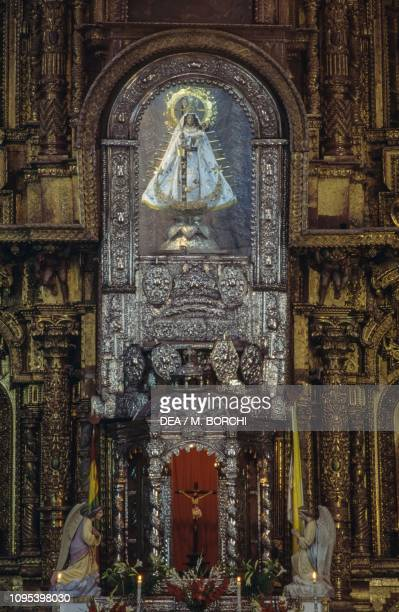 Altar of the Virgen de la Candelaria basilica of Nuestra Senora de la Candelaria Copacabana Bolivia