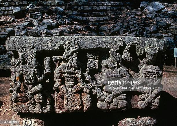 Altar Q in front of Temple 16 depicting the kings of Copan Copan archaeological site Honduras Maya civilisation
