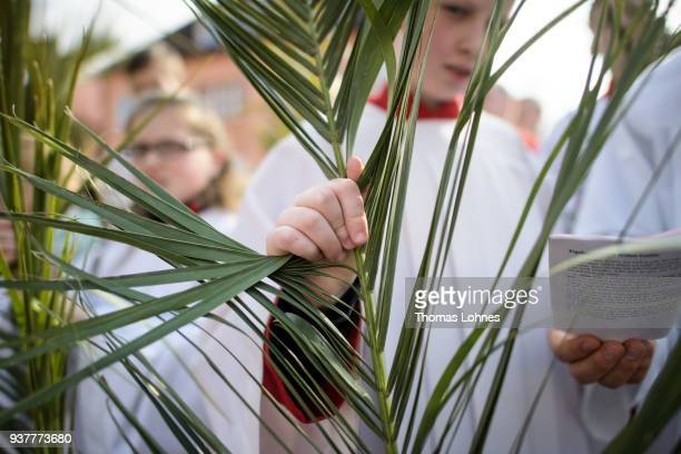 Altar server sing with palm leaves during the annual Palm Sunday procession on March 25, 2018 in Heiligenstadt, Germany. The annual event, known as...