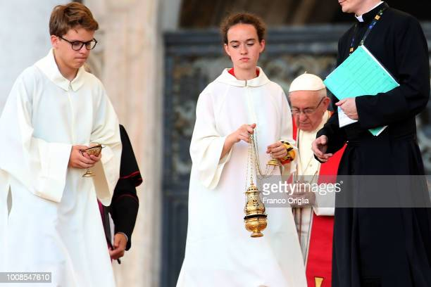 Altar servers attend an extraordinary audience held by Pope Francis in St PeterÕs Square on July 31 2018 in Vatican City Vatican Over 70000 altar...