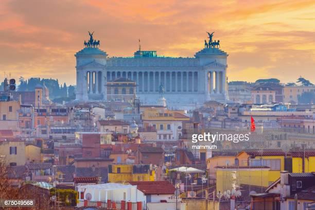 Altare della Patria (National Monument to Victor Emmanuel II) over Rome, Italy