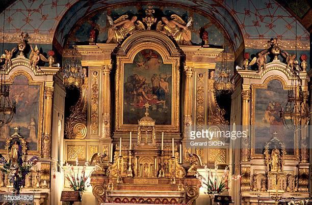 Altarpiece church of SaintEtienne de Baigorry in Pyrenees Atlantiques France