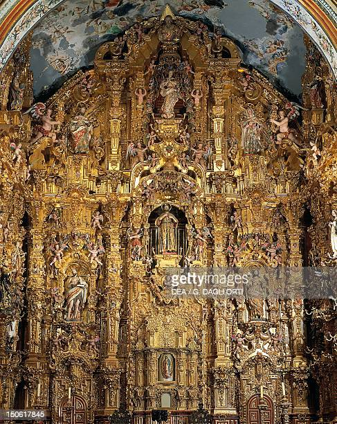 Altarpiece dedicated to St Francis Xavier by Miguel Cabrera Church of the Society of Jesus Tepotzolan Mexico