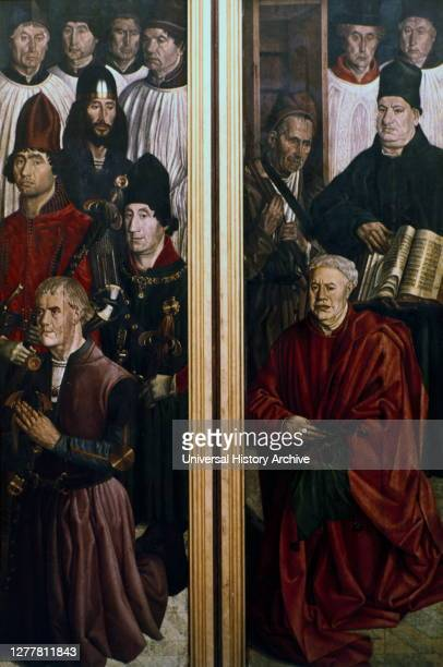 Altarpiece of St Vincent by Nuno Goncalves, 1460. Panel of the Relic , Panel of the Knights . From the Museu Nacional de Arte Antiga, Lisbon,...