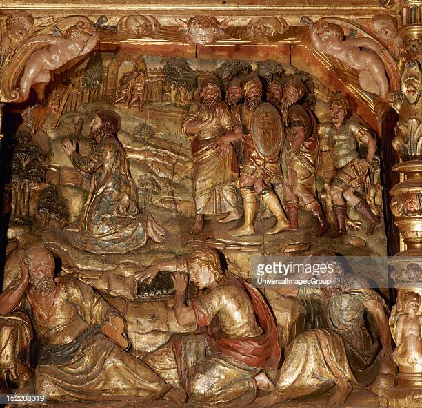 Altarpiece of the church of Saint Mary dated in 1574 Plateresque style Detail Relief depicting Jesus praying in the Garden of Olives along with his...