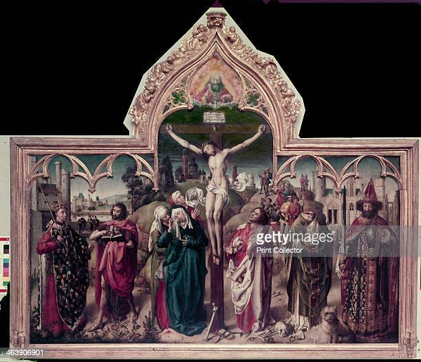 Altarpiece of the Parliament of Paris c1452 Left St Louis with a tabard of fleurdelys and John the Baptist Right Charlemagne and St Denis Centre...