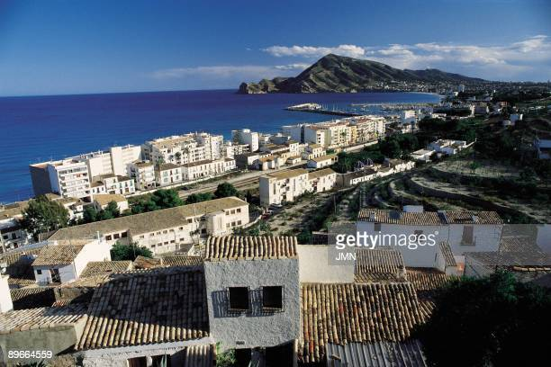 Altea Alicante Panoramic view of the coastal city important tourist center next to the mediterranean Sea
