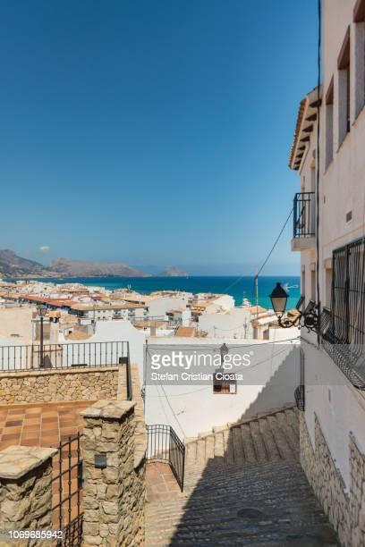 altea village and mediterranean sea, spain - altea stock photos and pictures
