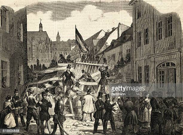 German Revolution of 1848 Citizens of Altenburg erecting barricades to force Duke to accept liberal constitution