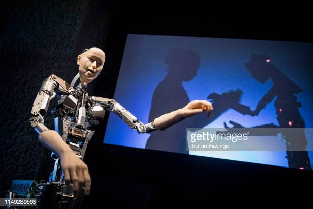 'Alter' by Hiroshi Ishiguro is displayed as part of the 'AI More than Human' exhibition at the Barbican Curve Gallery on May 15 2019 in London England