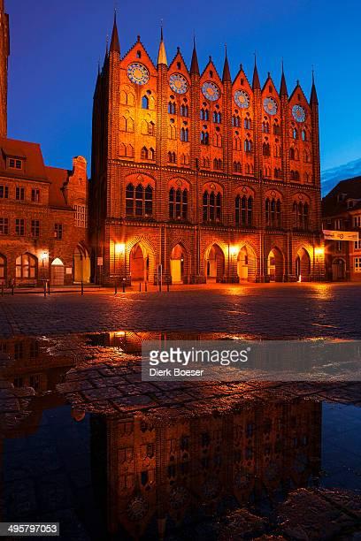 Alter Markt market square with city hall at night, Stralsund, Mecklenburg-Western Pomerania, Germany