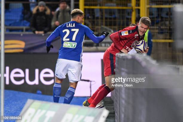 Altercation beteween Kenny Lala of Strasbourg and Andreas Cornelius of Bordeaux during the League Cup match between Strasbourg and Bordeaux at La...