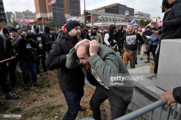 Altercation between alleged members of Proud Boys and counterprotestors at a We The People rally at Independence Mall in Philadelphia PA on November...