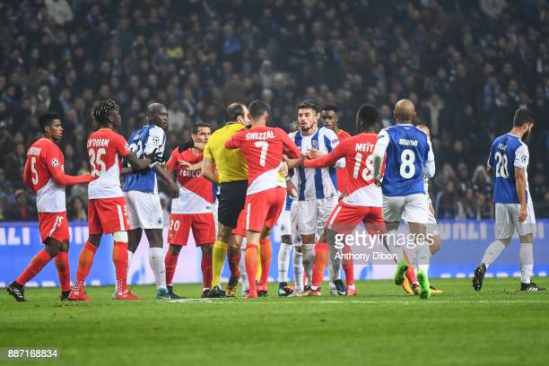 Altercation between Felipe of Porto and Rachid Ghezzal of Monaco during the Uefa Champions League match between Fc Porto and As Monaco at Estadio do...