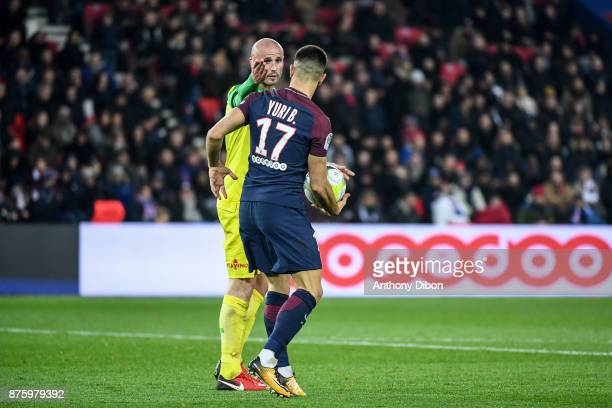 Altercation between Nicolas Pallois of Nantes and Yuri Berchiche of PSG during the Ligue 1 match between Paris Saint Germain and Nantes at Parc des...