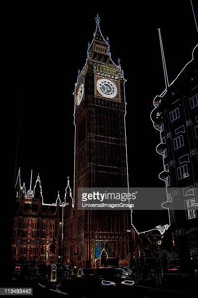 Altered image enhanced colour and contrast of Big Ben Houses of Parliament London England Photoshop editing became a common design tool in the late...