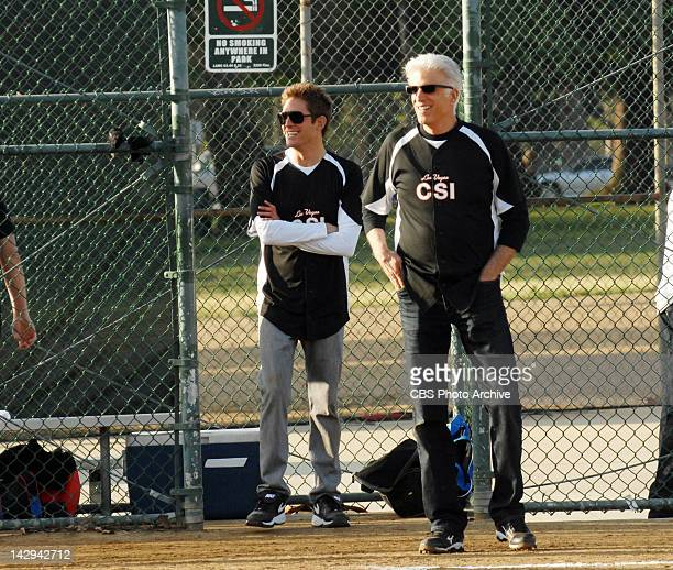 "Altered Stakes"" -- Greg Sanders and D.B. Russell smile as they watch the action in the CSI vs. Vice softball game, on CSI: CRIME SCENE INVESTIGATION,..."