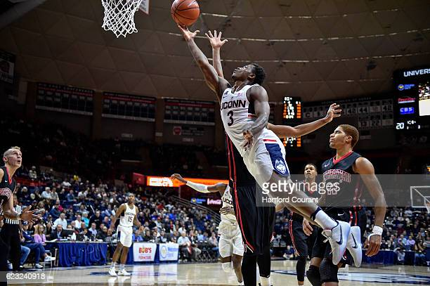 Alterique Gilbert drives to the baseket against Northeastern during the first half on Monday Nov 14 2016 in Storrs Conn Northeastern led UConn 3531...