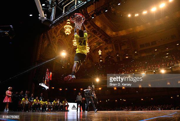 Alterique Gilbert of the West dunks during the McDonald's All American Game Jam Fest at the Chicago Theatre on March 28 2016 in Chicago Illinois