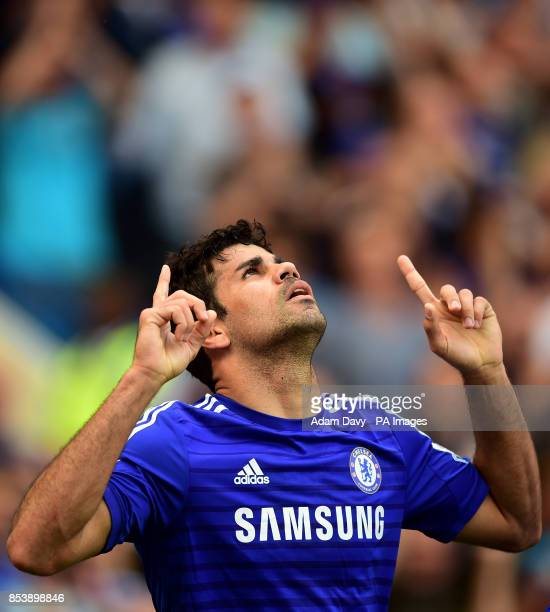 *Alternate Crop* Chelsea's Diego Costa celebrates scoring the opening goal of the game during the Barclays Premier League match at Stamford Bridge...