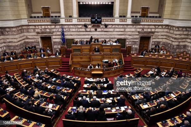 Alternate Minister of Foreign Affairs George Katrougalos delivers a speech during a voting session on the Prespa Agreement, an agreement aimed at...