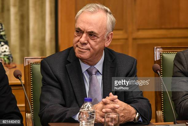 Alternate PM Yannis Dragasakis attends kick up meeting of the new cabinet of PM Alexis Tsipras in Athens on November 6 2016