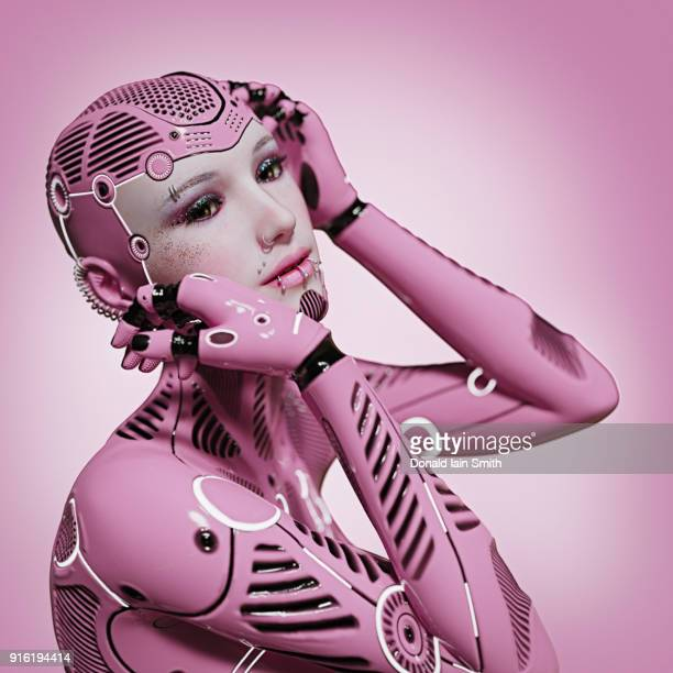 Alternative android woman with piercing