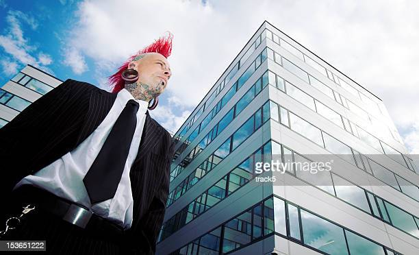 alternative business vision - mohawk stock photos and pictures