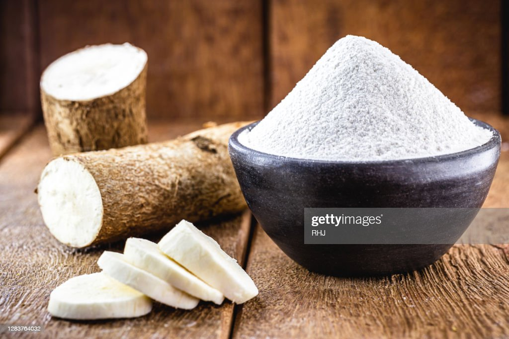 alternative flour, vegan food, typical of Brazil, made with cassava. Typical south american root : Stock Photo