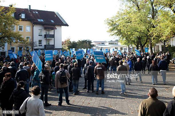 FREILASSING BAVARIA GERMANY Alternative for Germany demonstrators gather in Freilassing they are against refugees and wants Merkel to be ousted