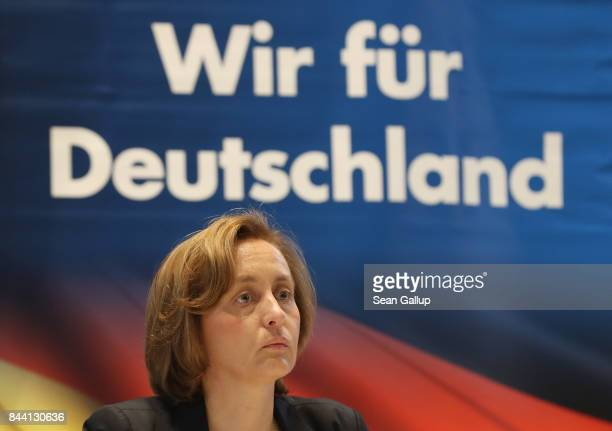Alternative for Germany political party leading member Beatrix von Storch attends an AfD event with British politician and former UKIP leader Nigel...