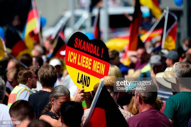Alternative for Germany 's demonstrator holds a placard reading Scandal I love my country during a gathering of AfD' s demonstrators at the main...