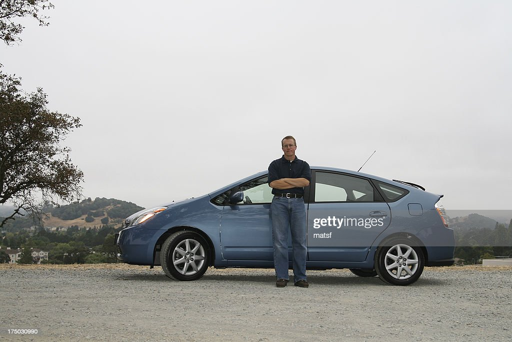 Alternative fuel car with owner : Stock Photo