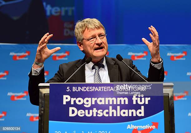 Alternative fuer Deutschland coleader Joerg Meuthen speaks at the party's federal congress on April 30 2016 in Stuttgart Germany The AfD a relative...
