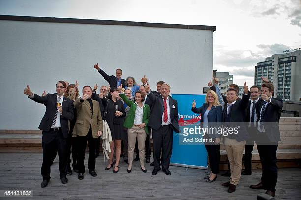Alternative fuer Deutschland party members attend a party meeting after the elections in the state of Saxony that will give the AfD seats in the...