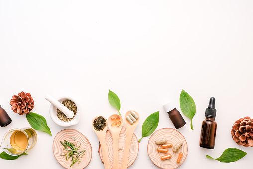 alternative herb medicine with herbal the organic natural in the laboratory. oil capsule, natural organic.food nutrition healthy and wellness. 1152036740