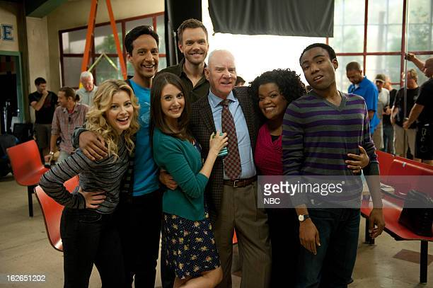 """Alternative History of the German Invasion"""" Episode 402 -- Pictured: Gillian Jacobs as Britta Perry, Danny Pudi as Abed Nadir, Alison Brie as Annie..."""