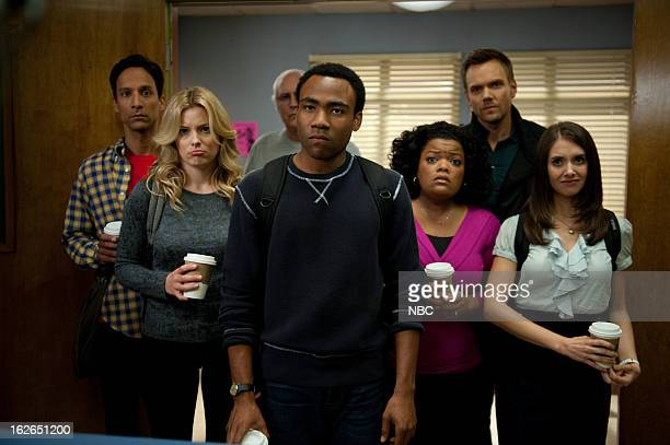 """Alternative History of the German Invasion"""" Episode 402 -- Pictured: Danny Pudi as Abed Nadir, Gillian Jacobs as Britta Perry, Chevy Chase as Pierce..."""