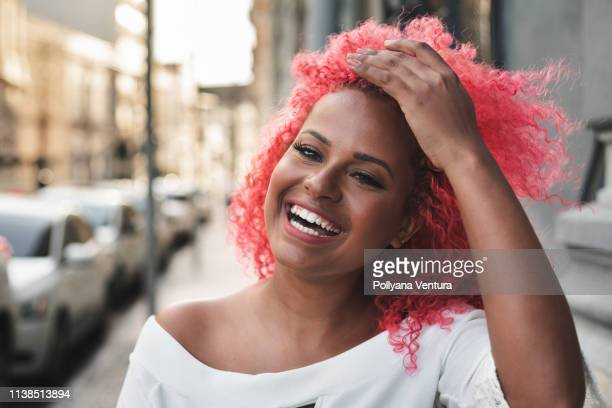 alternative lifestyle - pink hair stock pictures, royalty-free photos & images