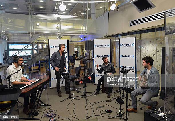 Alternative rock band Keane's pianist/backing vocals Tim RiceOxley and lead vocalist Tom Chaplin perform at The Spectrum at SiriusXM Studio on June...