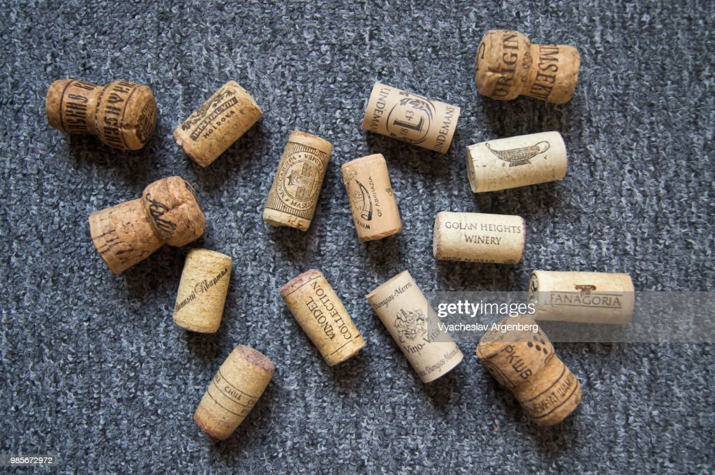 Alternative synthetic wine closures, used for sealing wine bottles : Stock Photo