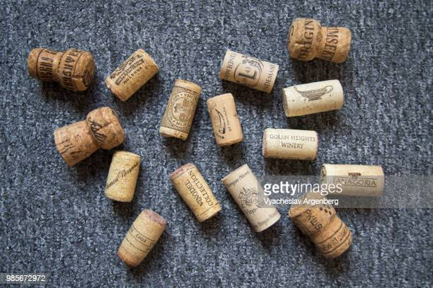alternative synthetic wine closures, used for sealing wine bottles - bottle stopper stock photos and pictures