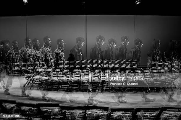 Alternative view of Models Prior the Maison Mihara Yasuhiro Menswear Fall/Winter 20162017 show as part of Paris Fashion Week on January 22 2016 in...